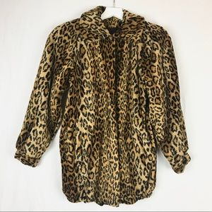 Vintage Faux Fur Cheetah Coat Medium 8/10